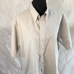 David Taylor button up shirt 16 1/2 beige green